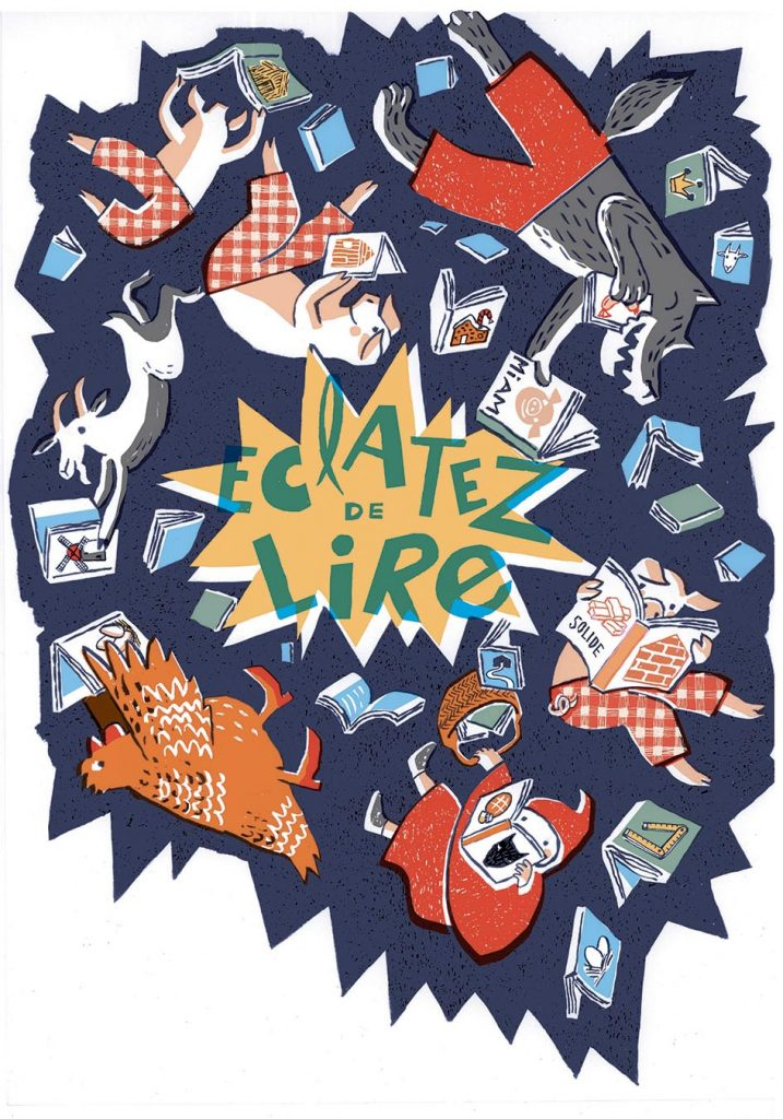Affiche pour le salon du livre de Villefranche (encre de chine, infographie) 2018