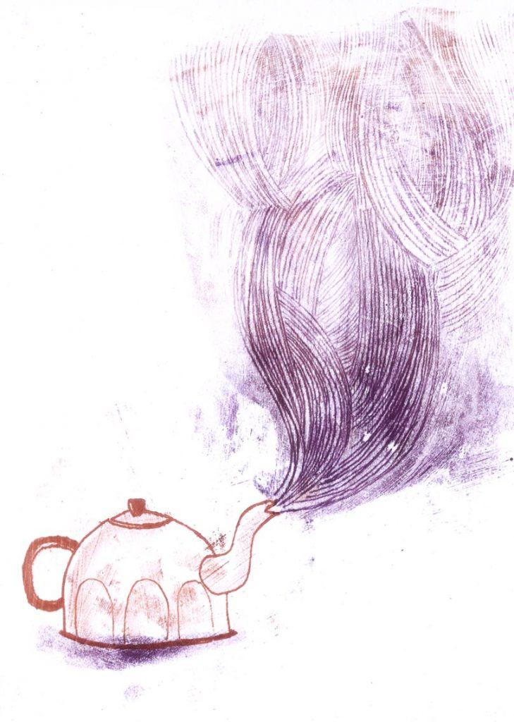 La bouilloire - Je suis à la maison - texte de Claire Gatineau (monotype) 2011