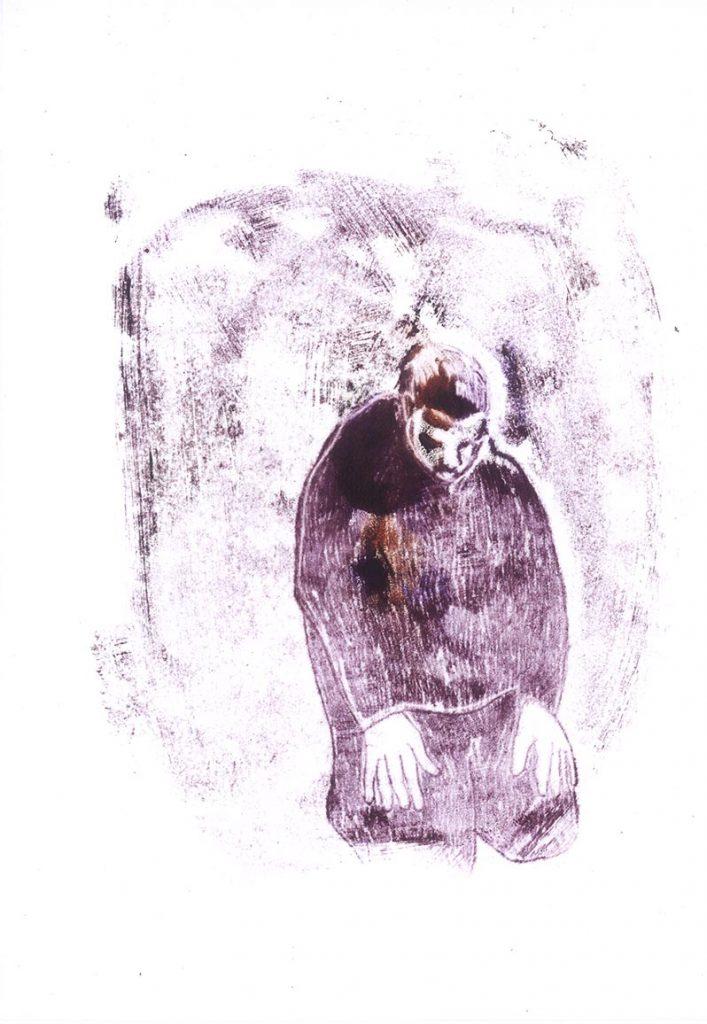 L'homme - Je suis à la maison - texte de Claire Gatineau (monotype) 2011