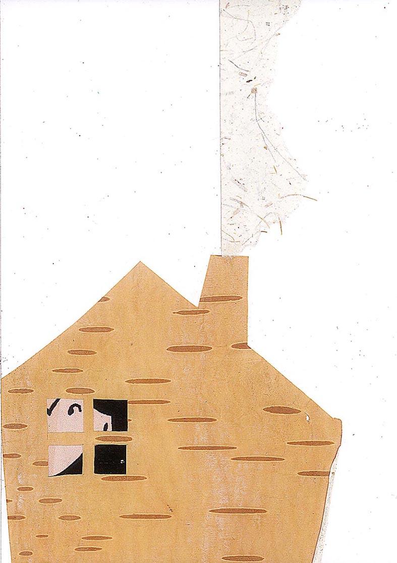 Cochon dans sa maison (encre de chine, collage) 2015