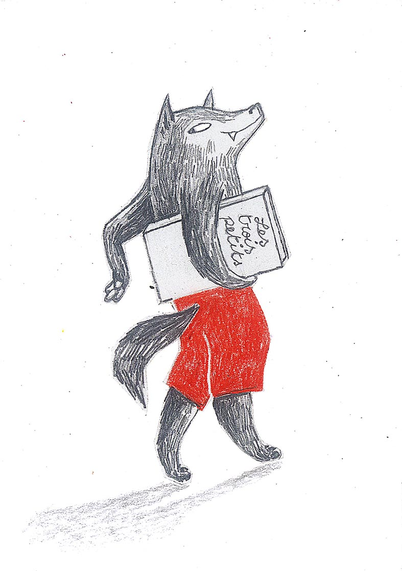 Le loup et son livre (crayon) 2015