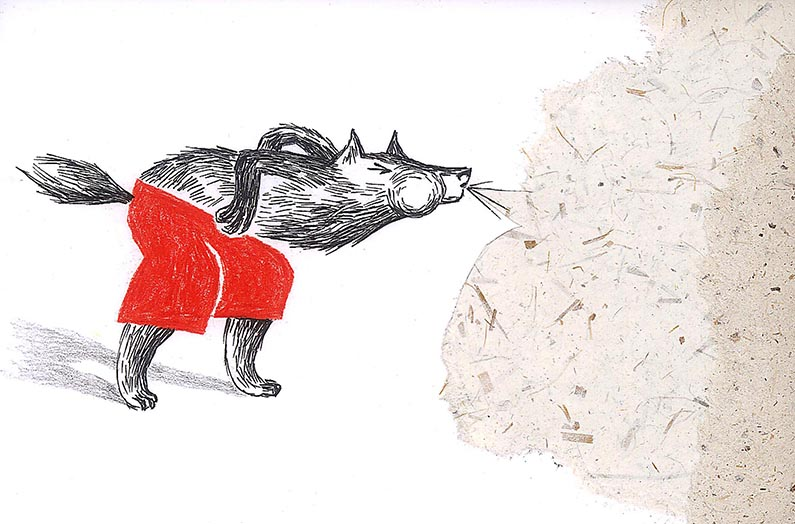 Le souffle du loup (encre de chine, crayon, collage) 2015