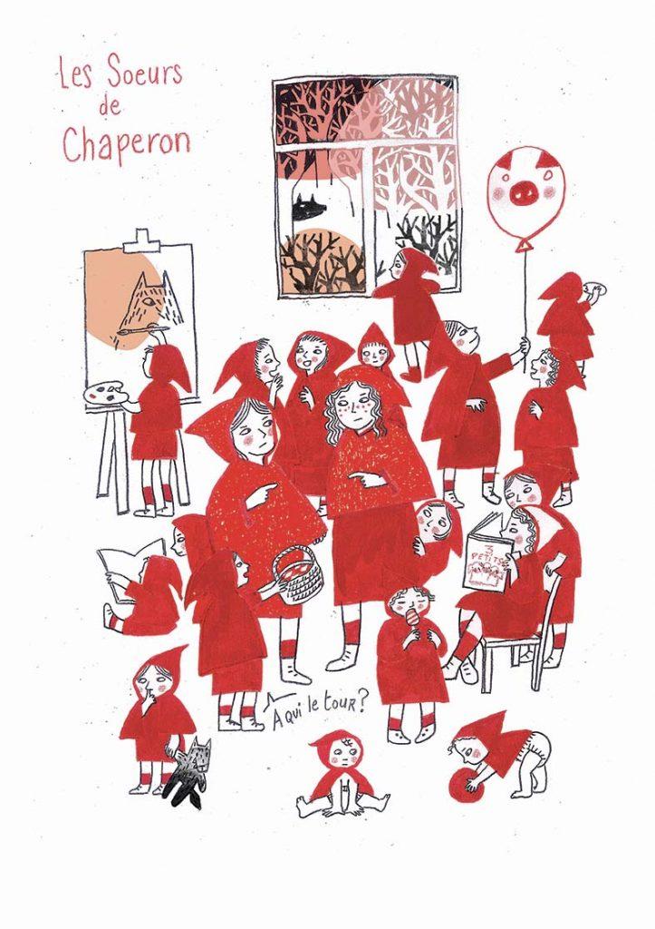 La famille Chaperon - Les soeurs - Exposition au Wolf (crayon, encres, infographie) 2019