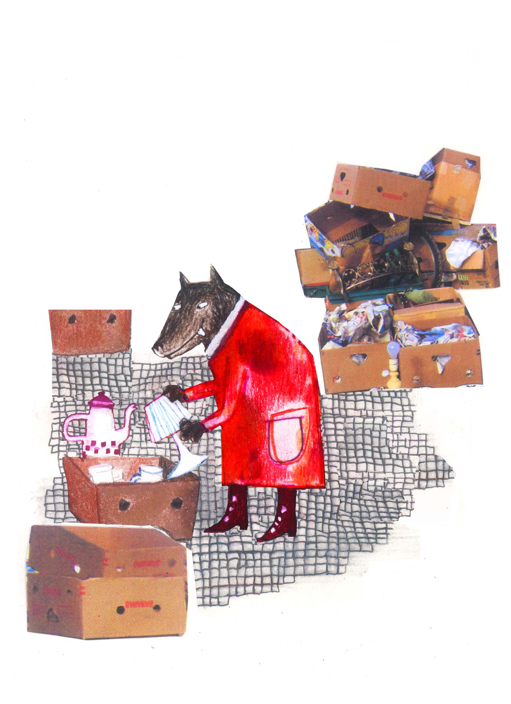Louve aux Puces - Les loups dans Bruxelles (crayons, marqueurs, collage) 2012