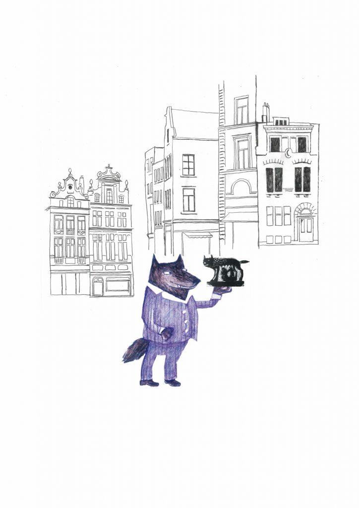 Loup sur la Grand-Place - Les loups dans Bruxelles (crayons, marqueurs, collage) 2012