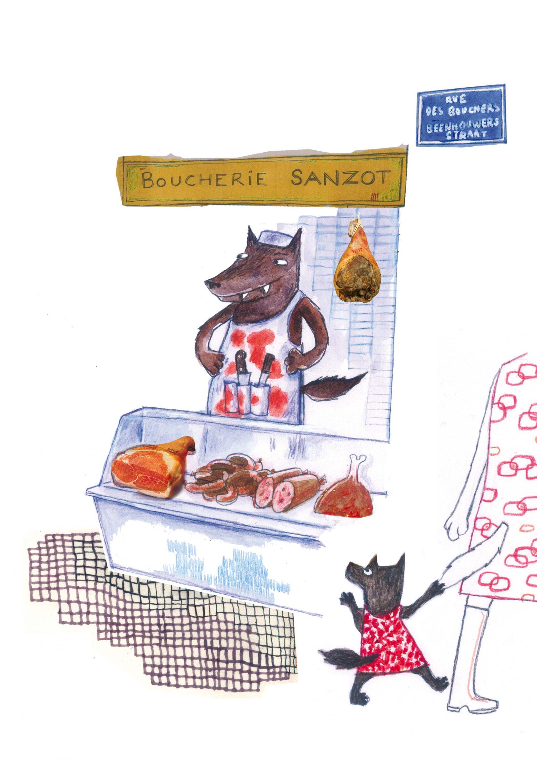 Rue des bouchers - Les loups dans Bruxelles (crayons, marqueurs, collage) 2012